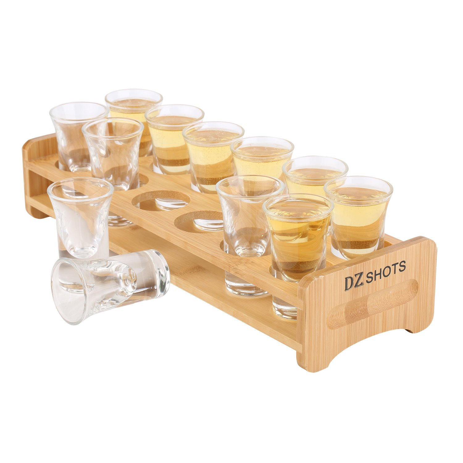 D&Z Shot Glass Set with Tray,include 12 Thick Base Crystal Clear Shot Glasses and Bamboo Holder for Barware, Shot Glass Display, Whisky Brandy Vodka Rum and Tequila Shot Set,0.75oz