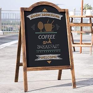 MyGift 35-Inch Rustic Dark Brown Wood A-Frame Chalkboard Sidewalk Sign