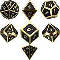 Zinc Alloy Metal Polyhedral 7-Die Dice Set for Dungeons and Dragons RPG Dice Gaming D&D Math Teaching, d20, d12, 2 Pieces d10 (00-90 and 0-9), d8, d6 and d4 (Shiny Gold and Black)