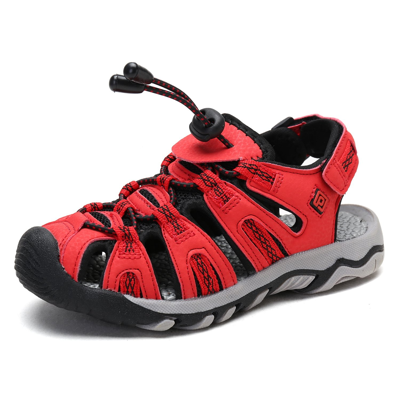 DREAM PAIRS Big Kid 160912-K RED BLK Grey Outdoor Summer Sandals Size 6 M US Big Kid