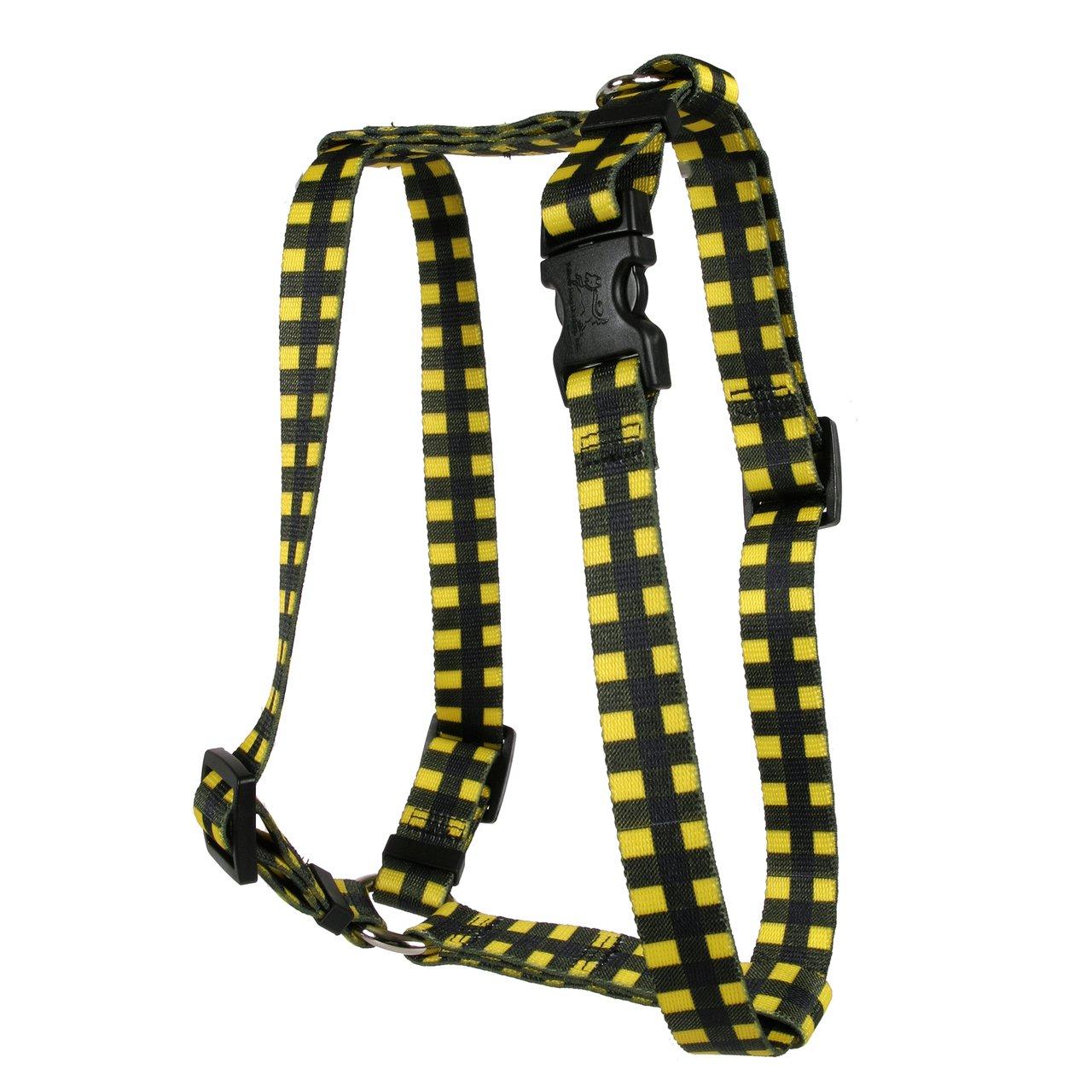 Yellow Dog Design Buffalo Plaid Yellow Roman Style H Dog Harness, X-Large/1'' Wide by Yellow Dog Design (Image #1)