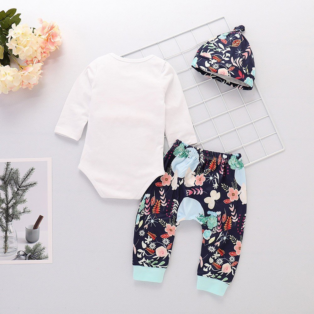 Lurryly 3Pcs Newborn Baby Boys Girls Romper Bodysuit+Floral Pants+Hat Clothes Outfit 0-2T