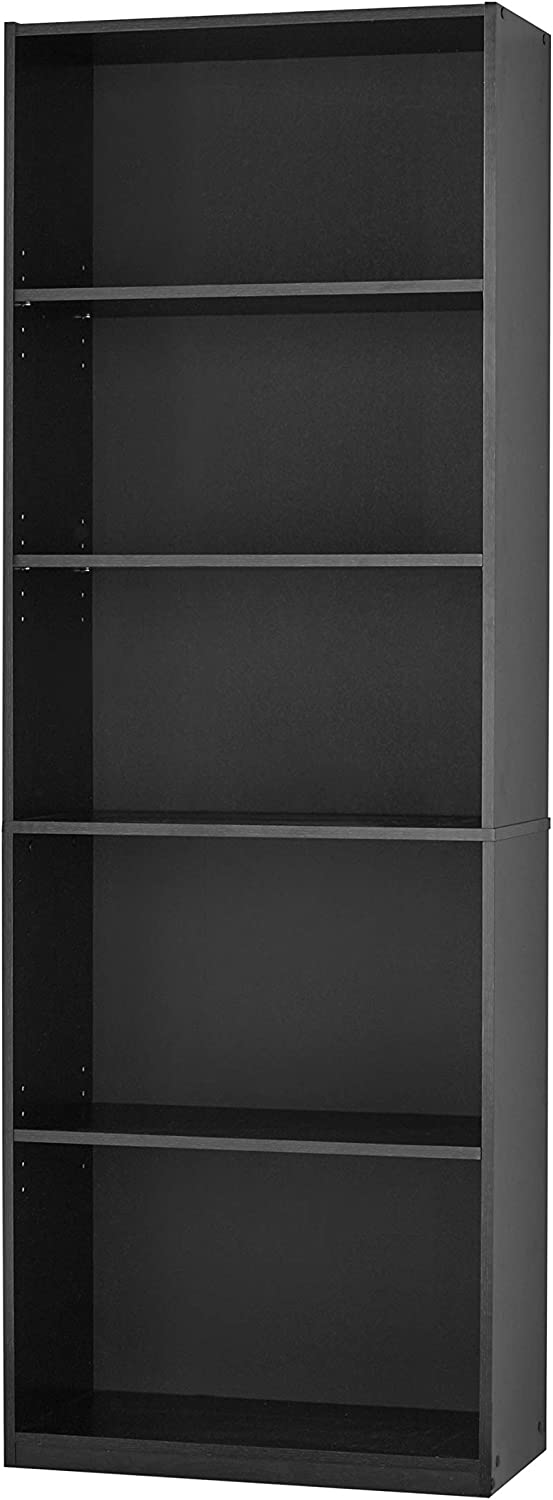 "PFS 71"" Tall Wood 5 Shelf Bookcase Closed Back Storage Shelves Bookshelf Book Case (Black)"