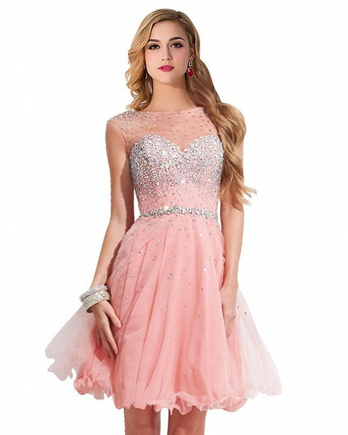 7baee37f1c Amazon.com  MisShow Women Crystal Open Back Short Prom Dress Cocktail  Homecoming Party Gowns  Clothing