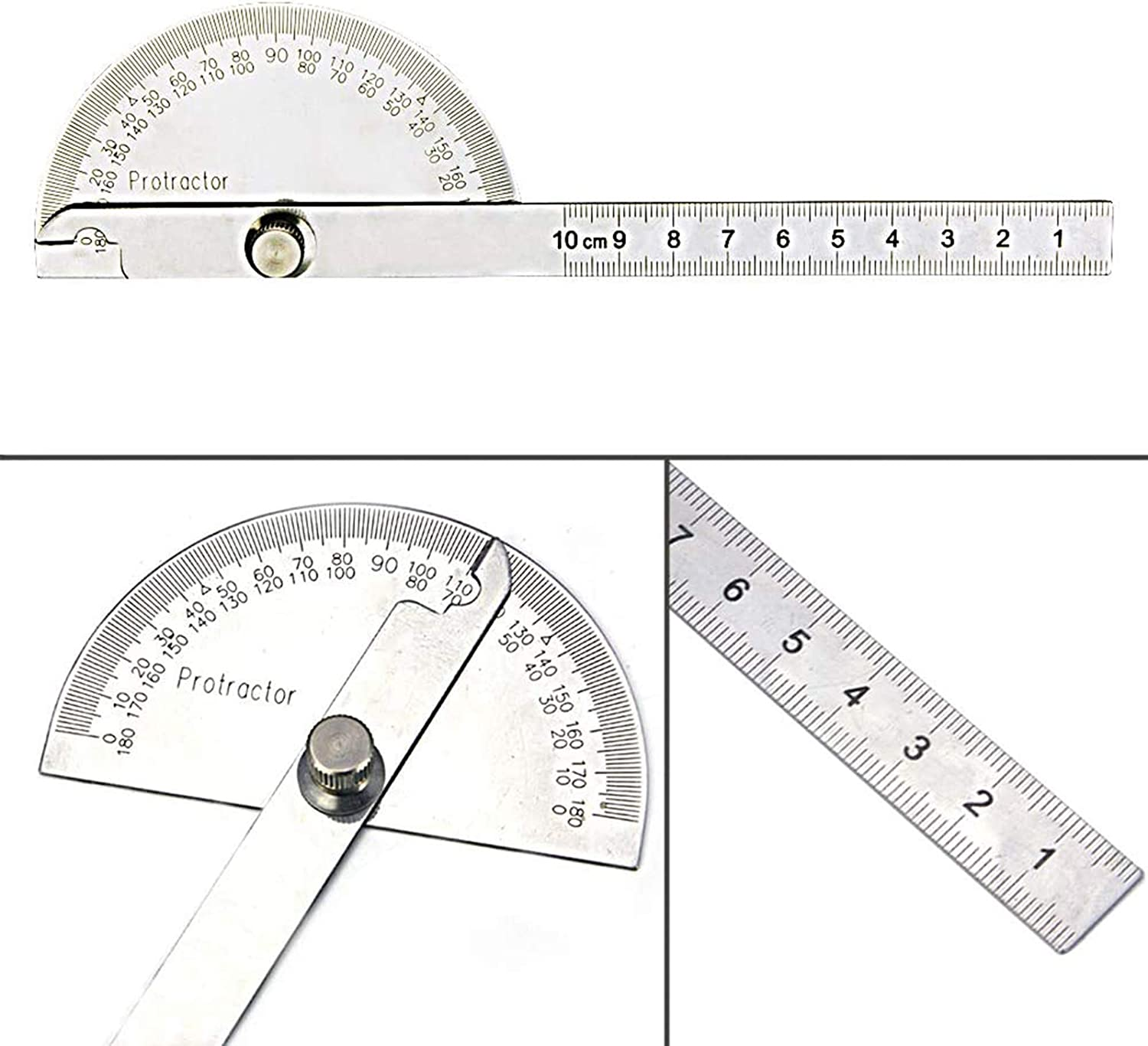 Stainless Steel Protractor 0-180 degrees with Round Head Angle Finder Arm WG-004