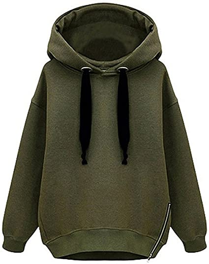 a7d33ac7591a4 Tasatific Women's Oversize Pullover Hoodie Solid Sweatshirts XS Army Green