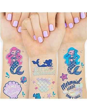 522d55193 xo, Fetti Mermaid Party Supplies Temporary Tattoos for Kids - 24 Glitter  Styles | Mermaid