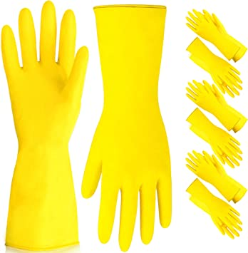 MEDIUM WASHING UP GLOVES 12 PAIRS YELLOW RUBBER HOUSEHOLD CLEAN WATERPROOF
