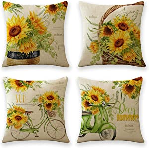 18 x 18 Throw Pillow Covers Outdoor Spring Summer Garden Flowers Farmhouse Outside Furniture Bench Decorative Cushion Set of 4 for Patio Sofa Couch Chair (Sunflower)