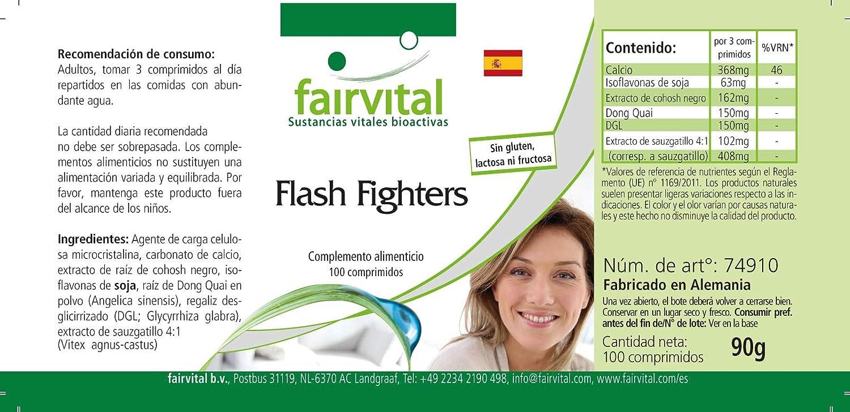 Flash Fighters - VEGANO - 100 comprimidos - con isoflavonas, dong quai, el árbol casto, etc. - ¡Calidad Alemana garantizada!: Amazon.es: Salud y cuidado ...
