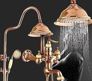 ZHFC Sistemi doccia bagno, rame intarsiato giada corpo oro set doccia, a muro regolabile supporto doccia per bagno soffione