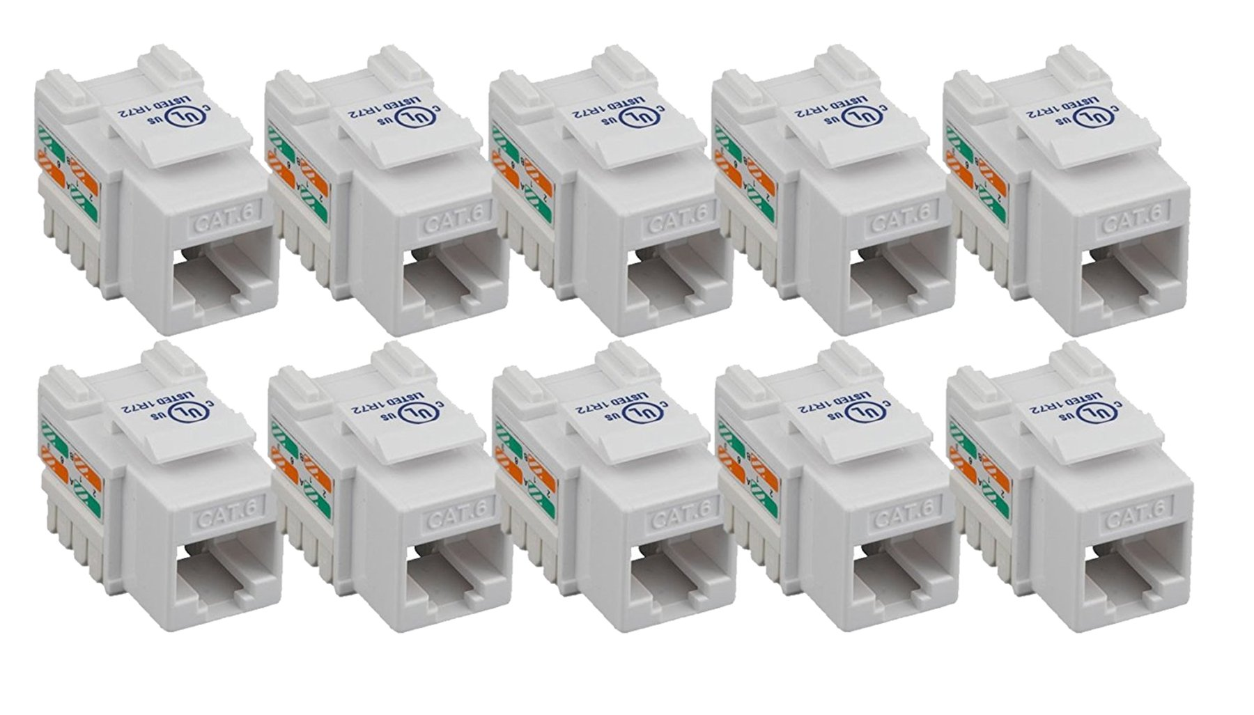 iMBAPrice (10-Pack) Cat6 RJ45 Punch-Down Keystone Jack in (White)