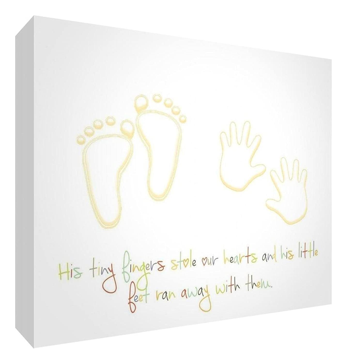 Feel Good Art Gallery Wrapped Nursery Canvas in Modern Design (20 x 30 x 3 cm, Small, Beige/Neutrals, His Little Feet Stole our Hearts) Little Helper Ltd BOYHEARTFEET128-01