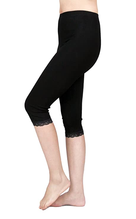 182d0f03ffd953 Amazon.com: IRELIA 2 Pack Cotton Girls Leggings Capri with Lace Trim Pant  Size 6-16 01 XS: Clothing