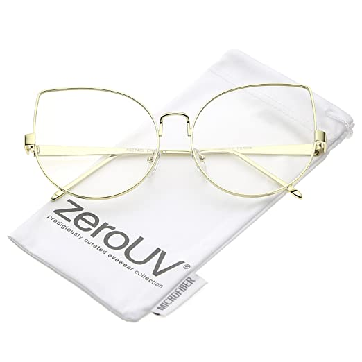 ef5c288c7b2 zeroUV - Oversize Slim Metal Frame Clear Flat Lens Cat Eye Glasses 63mm  (Gold