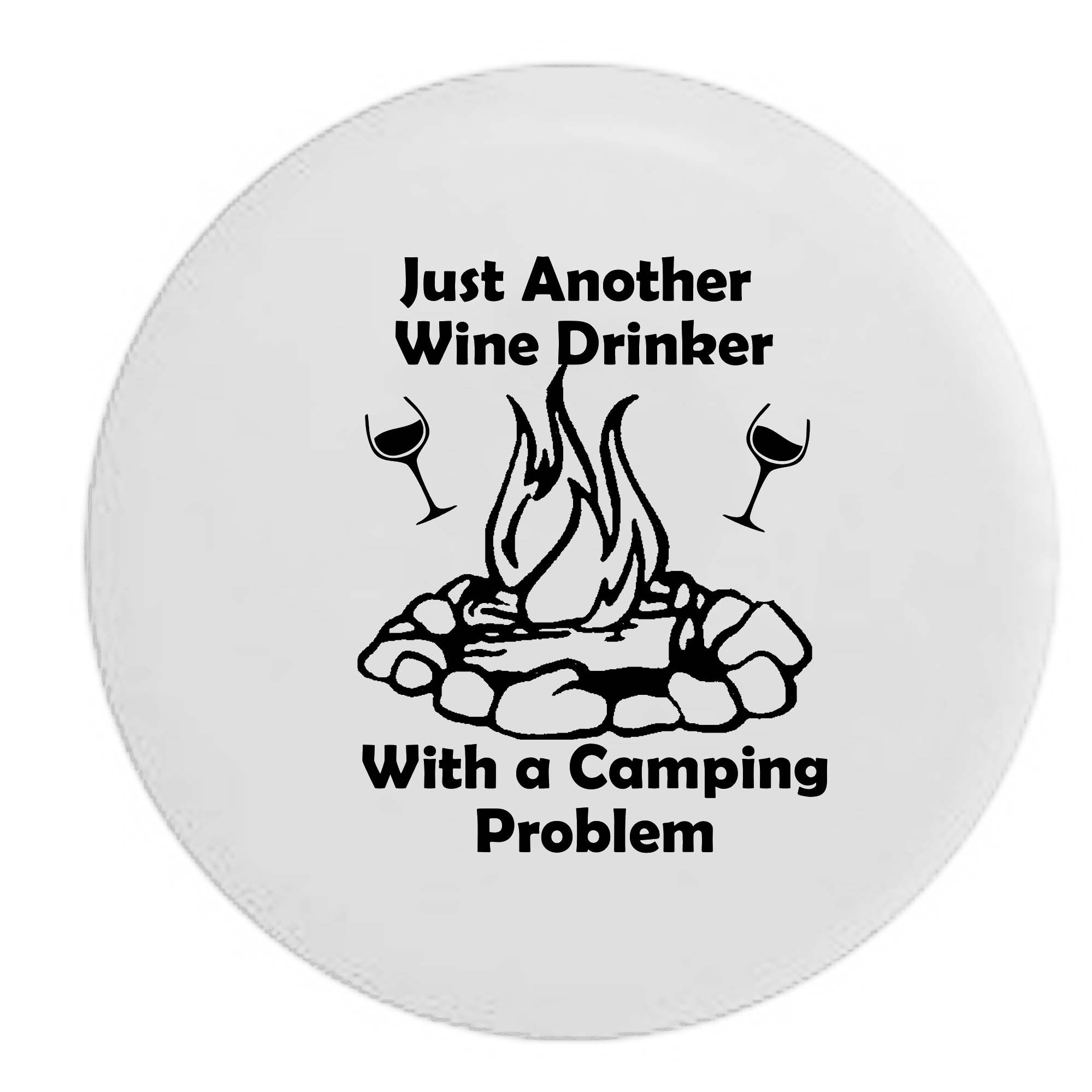 Pike Outdoors White - Just Another Wine Drinker with a Camping Problem Campfire Camping RV Spare Tire Cover OEM Vinyl Black 27.5 in by Pike Outdoors
