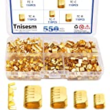 Tnisesm 550 Pcs U Shape Copper Ring Terminals Crimp Kits - Non-Insulated Assortment Cable Wire Spade Electric Butt Connector