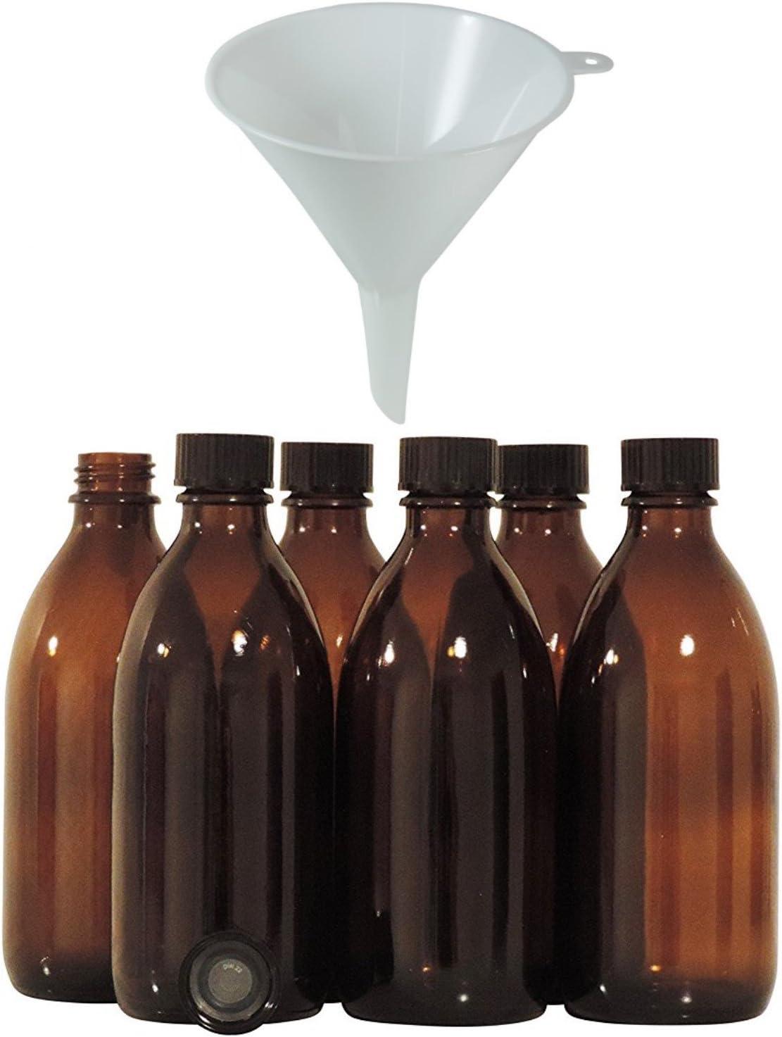 Viva-Haushaltswaren–6x Marrón Medicina Botella 200Ml, Frascos de farmacia, laboratorio–Fabricado en Alemania & sin BPA–Incluye Embudo