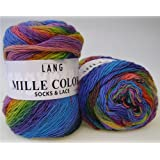 Lang Yarns Mille Colori Pelote de laine pour chaussettes et lacets Multicolore