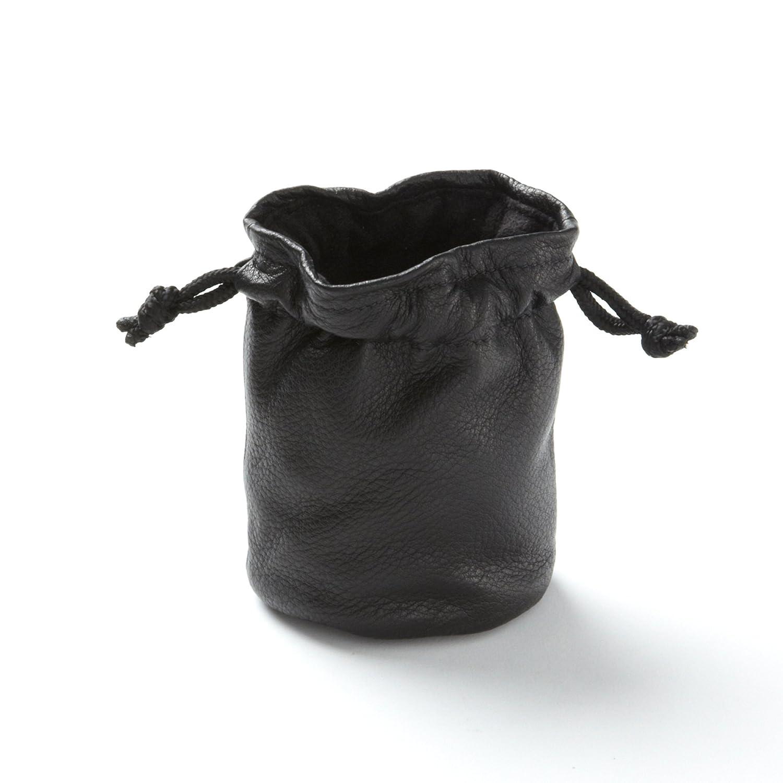 Small Onyx Leather Drawstring Bag