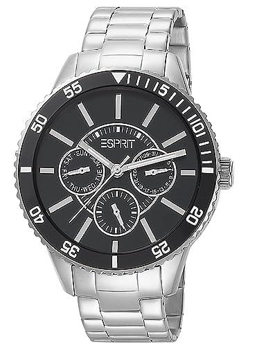 Esprit - Reloj analógico para caballero de acero inoxidable negro: Amazon.es: Relojes
