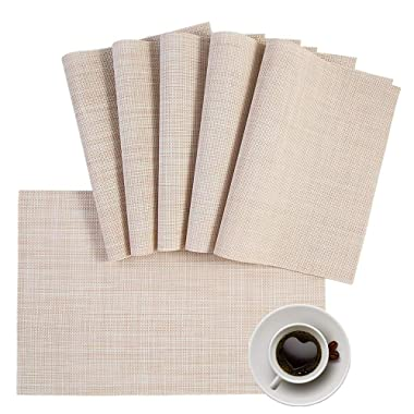 HQSILK Placemats, PVC Table Mats,Placemat Sets of 6 Non-Slip Washable Coffee Mats,Heat Resistant Kitchen Tablemats (Beige)