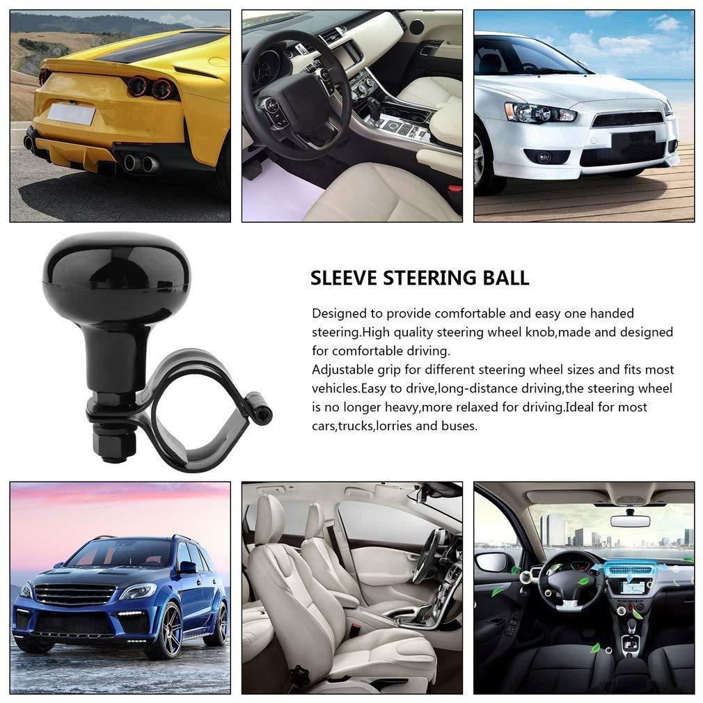 Kitechildhood Car Steering Wheel Power Handle Ball Hand Control Car Grip Knob Turning Helper Black