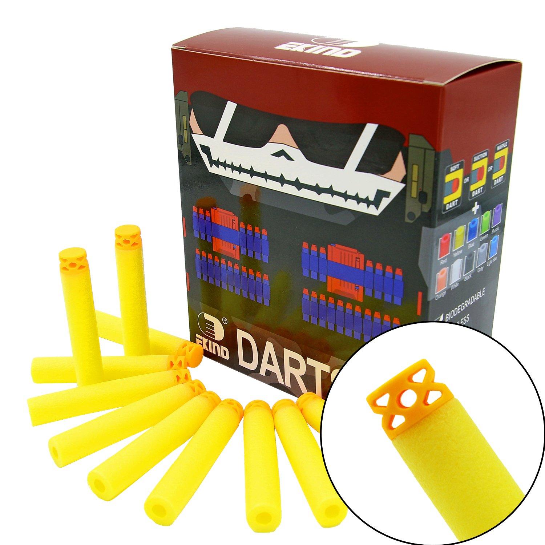 EKIND 100 Pcs 7.2cm New Design TPR Waffles Soft Head Foam Darts for Nerf N-strike Elite AccuStrike Series Blasters Toy Gun Black
