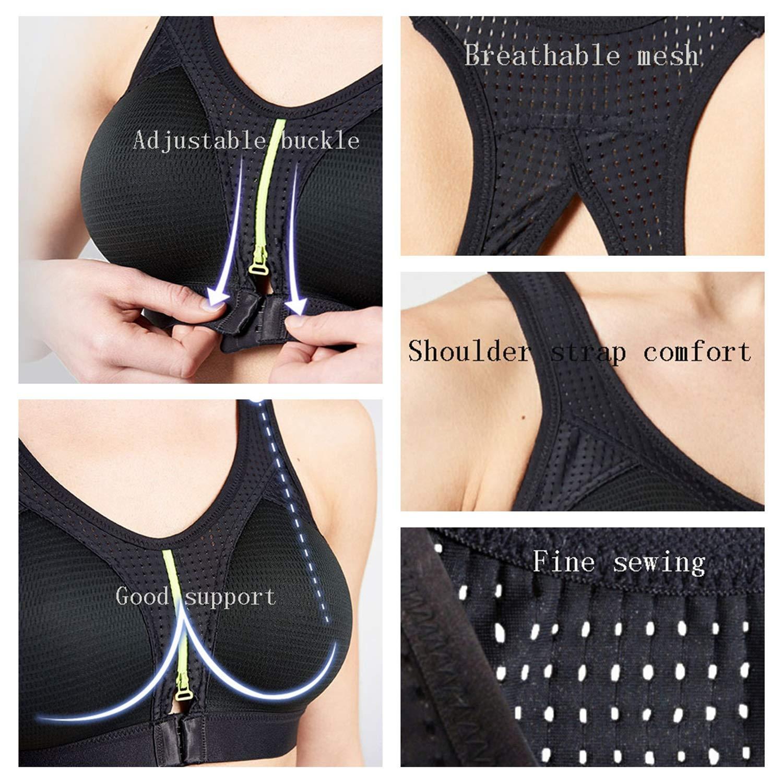 ZR Cremallera de Las Mujeres Frente Sujetador Deportivo Sujetador de cirugía inalámbrica Sujetador de Yoga Activo (Color : Black S (C/D)): Amazon.es: ...
