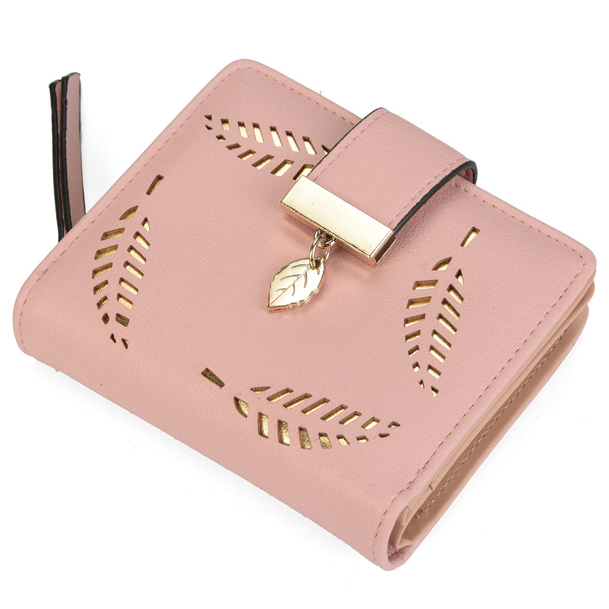 Women's Short Leather Wallet Leaf Bifold Card Coin Holder Small Purses Buckle Zipper Clutch,Pink-by Vodiu by vodiu (Image #6)