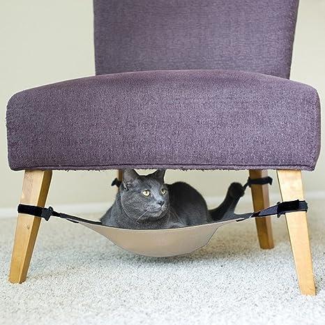 rorychen gato hamaca cama Segura y suave bajo silla o mesa hamaca para mascotas para colgar