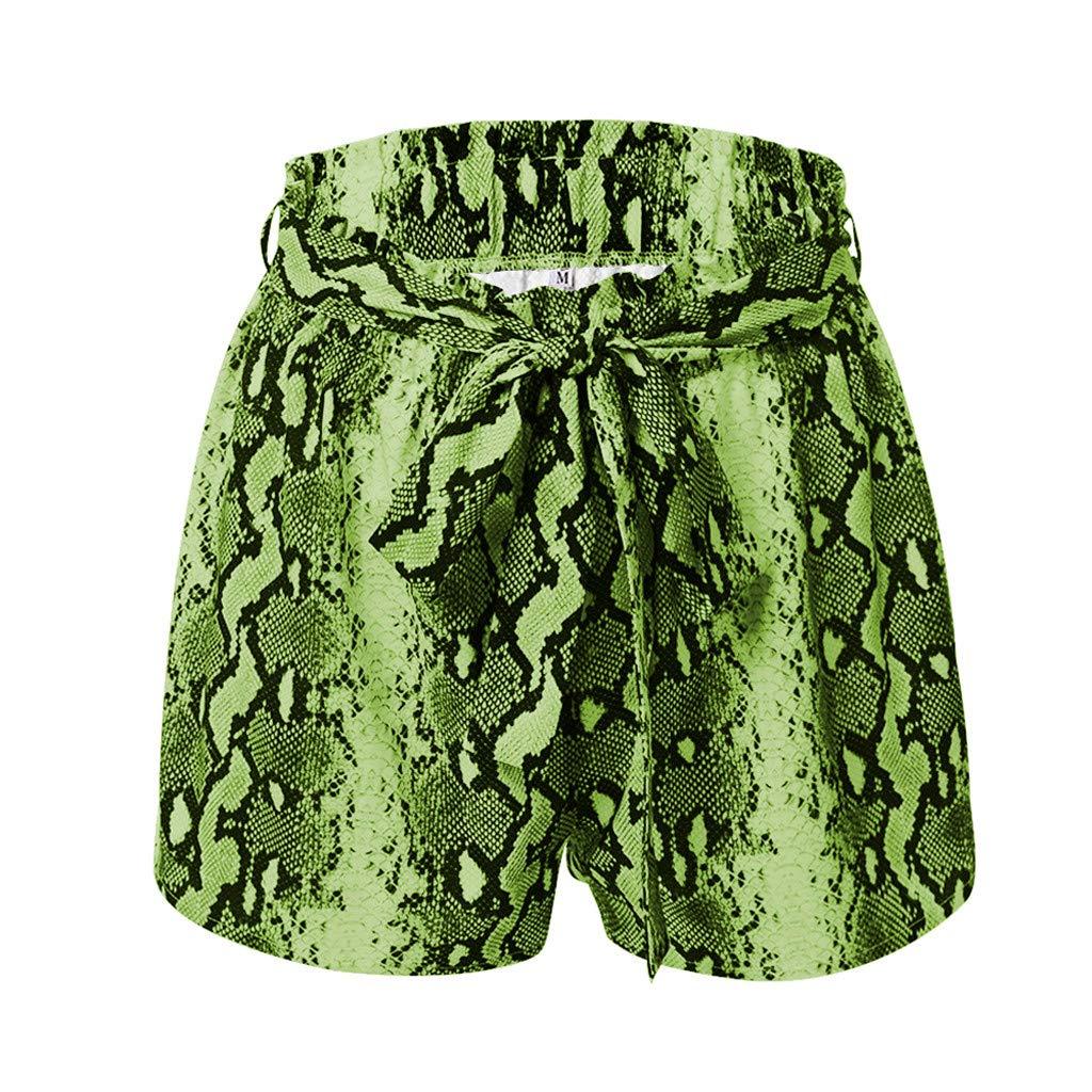 Plus Size Women Fashion Casual Elastic Band Belt Snake Print Pants Mikey Store