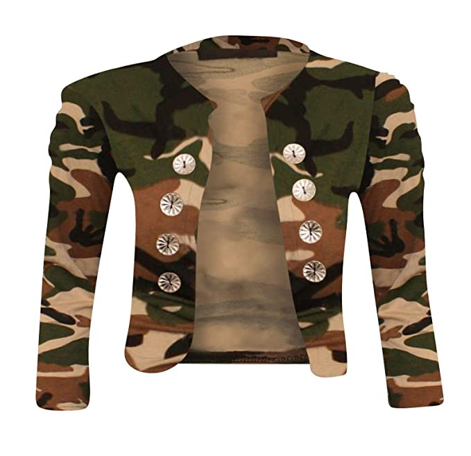 5d701687c6c10 Janisramone Womens Ladies New Army Camouflage Print Bolero Shrug Military  Button Ruched Crop Cardigan Top at Amazon Women's Clothing store: