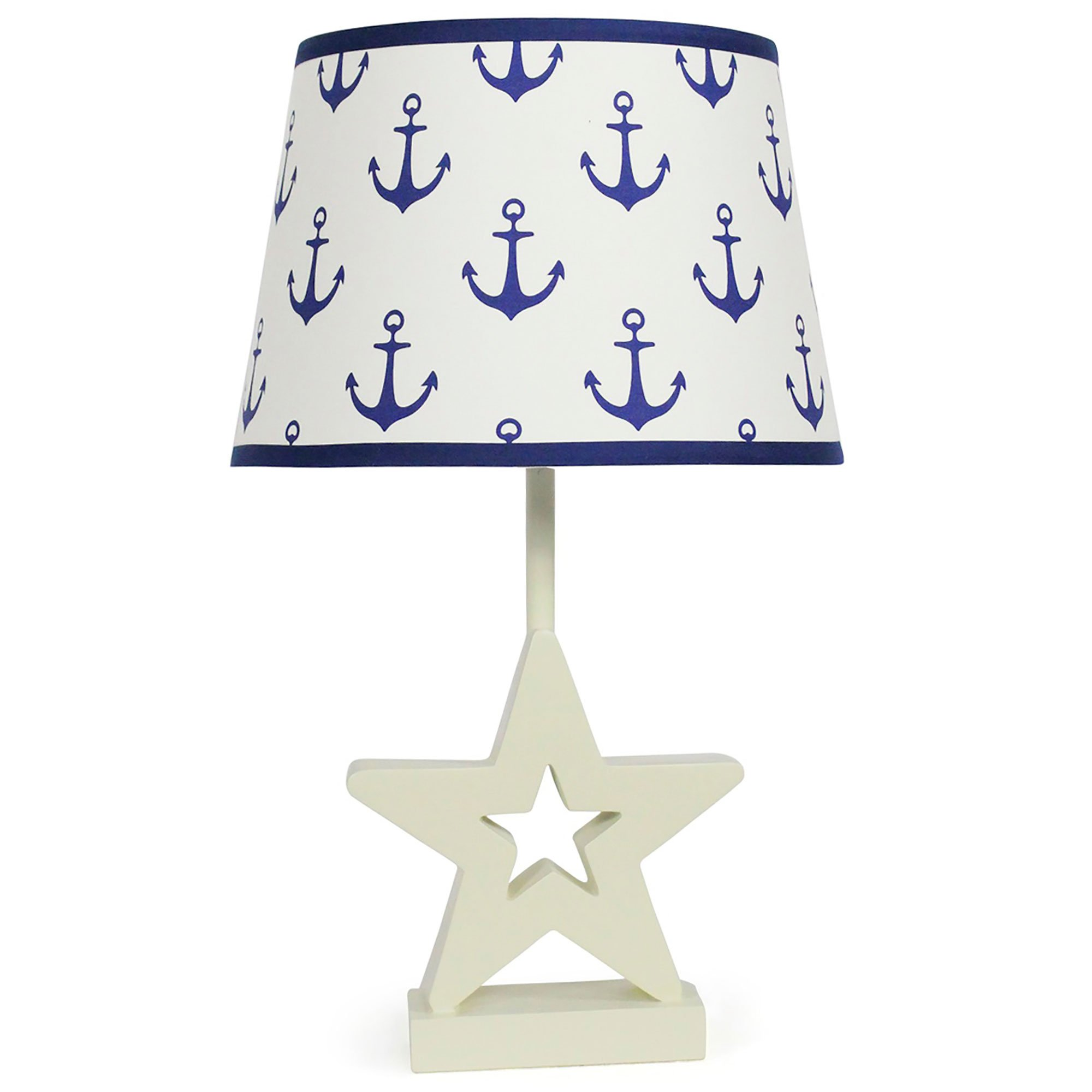 Navy Blue Anchor Nursery Lamp Shade with White Star Base, CFL Bulb Included