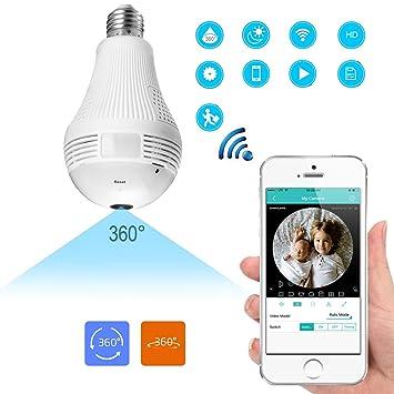 WiFi Bombilla IP Cámara Oculta Seguridad IP 360 Grados Panorámica HD Fisheye con Detección Movimiento Y Aplicación Conversación Bidireccional Sistema Remoto ...