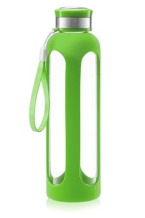 Swig Savvy – Botella de agua de cristal 20oz/32oz resistentes a la rotura de