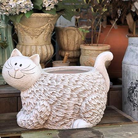 zenggp Decoración para El Hogar Corral Animal Gato Blanco Jardín Interior Flor Exterior Maceta Maceta Comedero: Amazon.es: Hogar