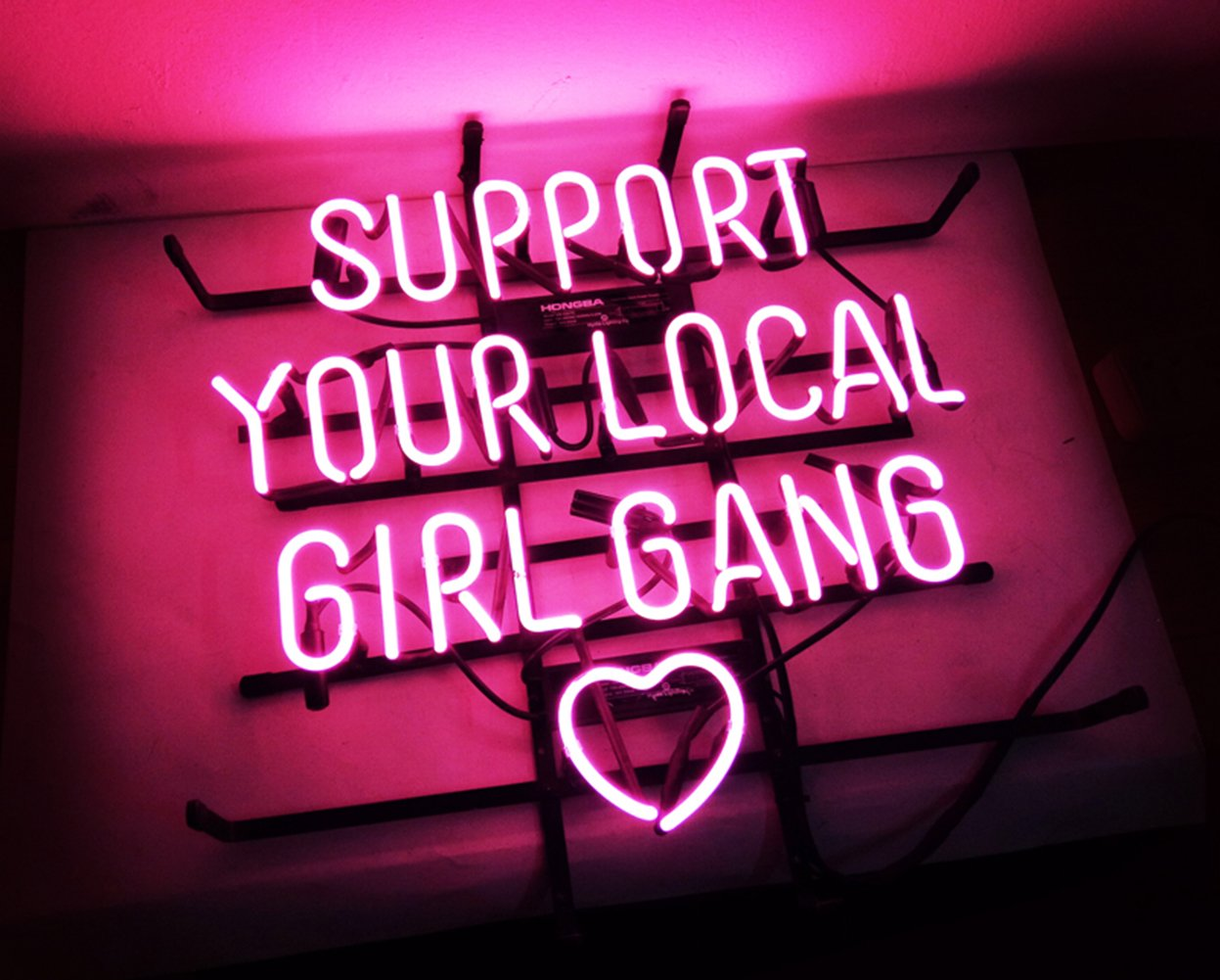 New Custom Neon Sign Pink Room Decor 'Support Your Local Girl Bang' for Bedroom Bar Beer Pub Home Hotel Beach Bar Garage Cocktail Recreational Game Room 18'' x 16'' by KUKUU (Image #4)