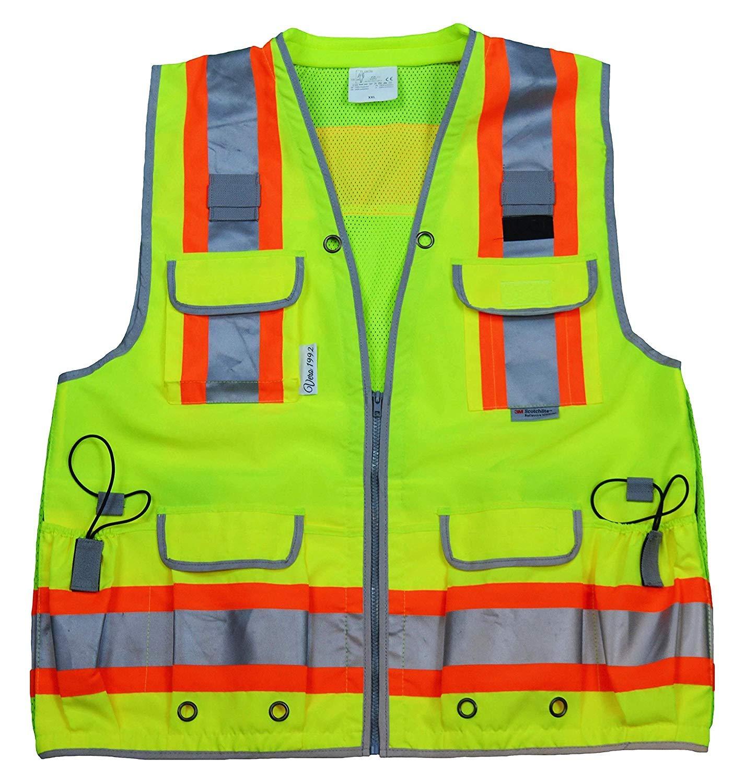 VERO1992 Reflective Vest Class 2 Heavy Woven Two Tone Engineer Hi Viz Yellow safety vest 3M 8712 Tape (Medium, Yellow)