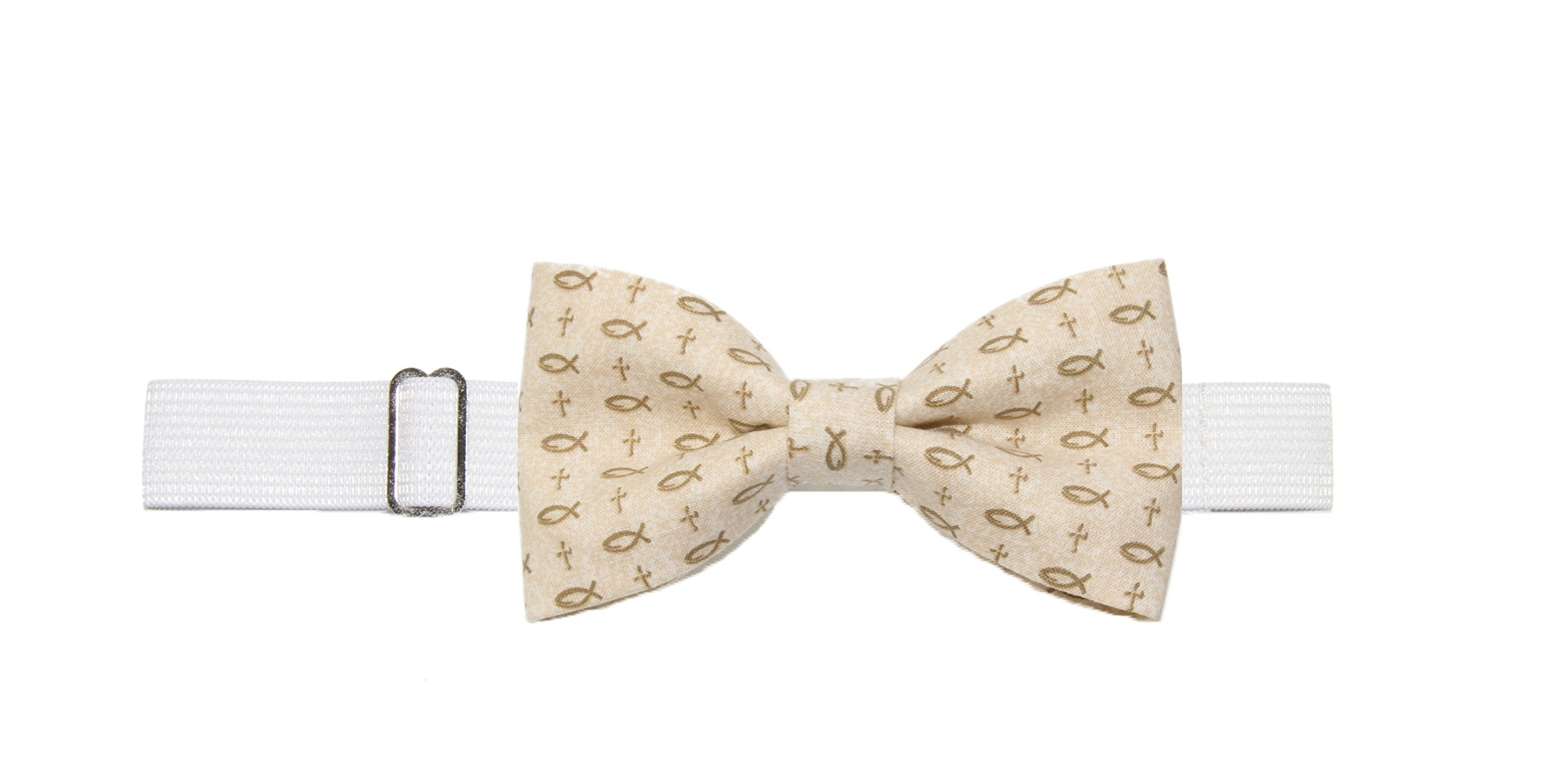 Boys (6-11 Years) Fish/Crosses Christian Pre-Tied Cotton Bow Tie On Strap