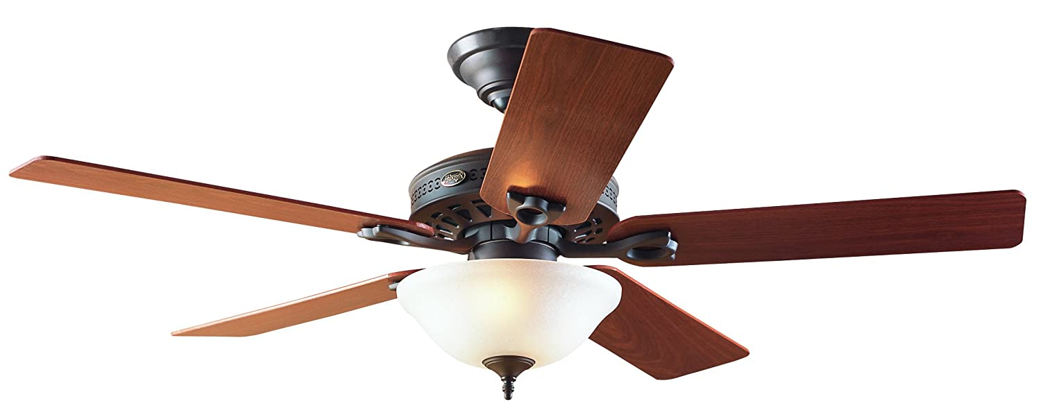Hunter 22459 Astoria 52 Inch Single Light 5 Blade Ceiling Fan New Bronze With Walnut Medium Oak Blades And Frosted Glass Bowl Com