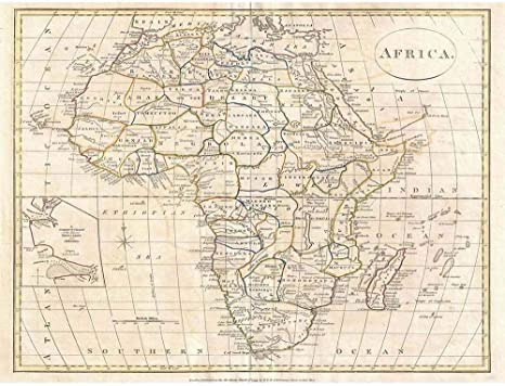 Poster Antique Map Of Africa Art//Canvas Print Wall Art Home Decor
