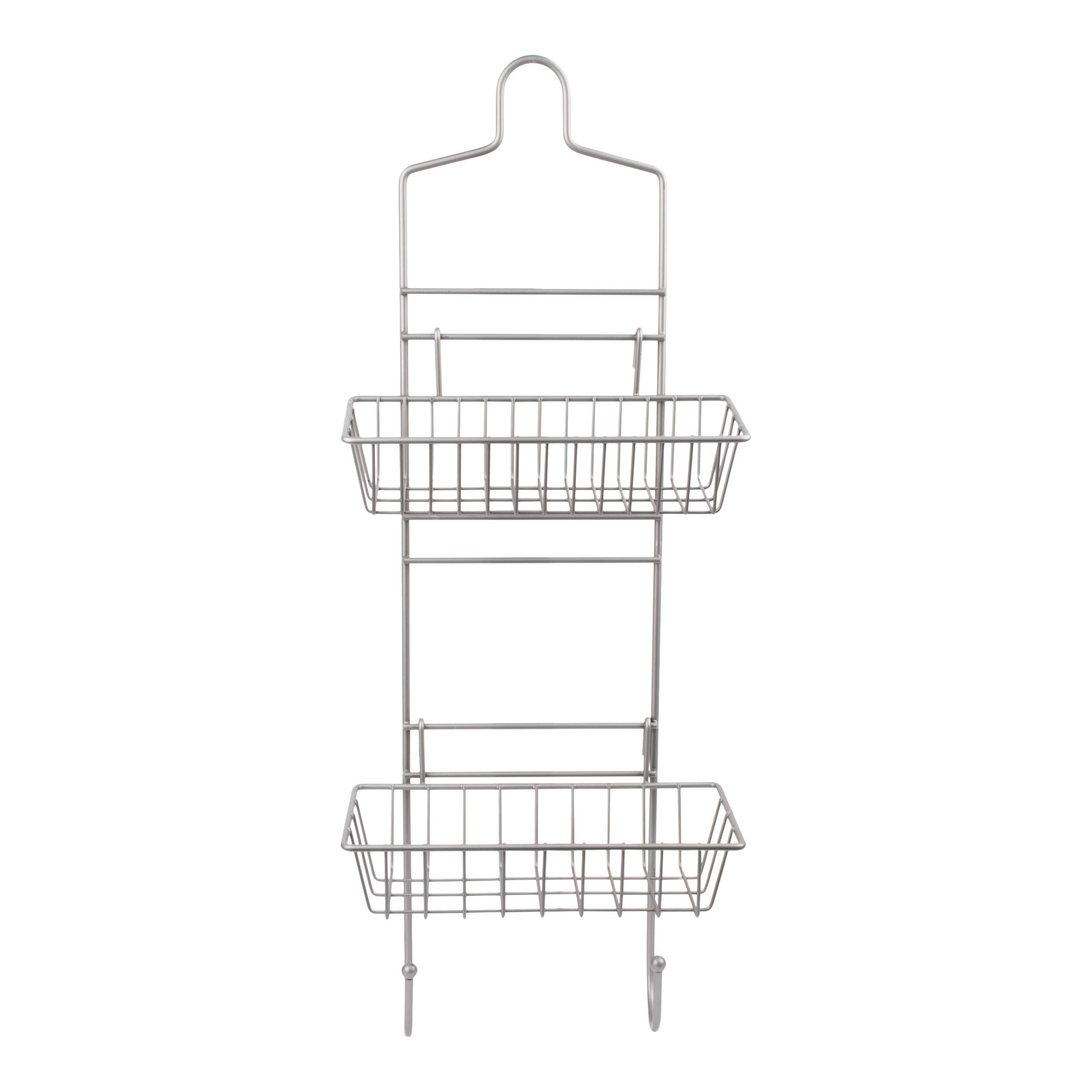 Slim Reversible Bath And Shower Caddy by LDR With Two Lightweight Easy Adjustable Basket Organizers For Storage Over Stall Door or Hanging From Shower Head, Durable Rust Resistant Satin Nickel Finish
