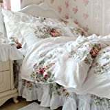 FADFAY Elegant And Shabby Floral Bedding Set Twin Full Queen King 4 Pieces Duvet Cover Sets (Full, Vintage Rose)