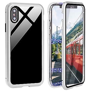 Caler Funda Compatible para Samsung Galaxy A50 Carcasa Magnética Cubierta de 362 Grados Delantera y Trasera de Transparente Vidrio Templado Marco de ...