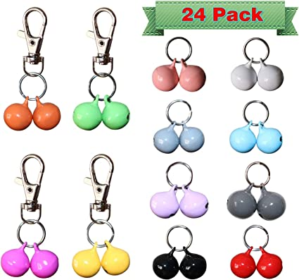 Frienda 24 Sets Pet Cat Collar Bell Dog Collar Bells Pet Pendant Bell Accessories Pet Training Bell