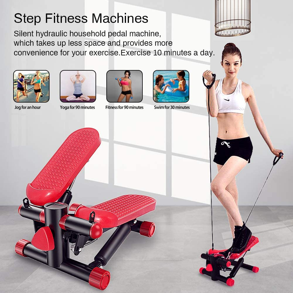 ZHCCCJBOY Fitness Stair Stepper Mini Stepper Step Fitness Machines Adjustable Stair Stepper with Resistance Bands LCD Display Fitness Exercise Machine Indoor Workout