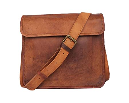8859d47db1f9 pranjals house genuine leather half flap 15 inch laptop leather satchel messenger  bag for men  women  Amazon.in  Bags