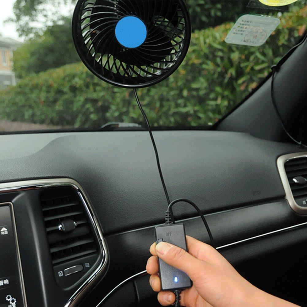 Puissant Vent et la Vitesse Ajustable 6 Pouces pour Camion Camping-Car Et/é avec Ventouse Installer sur Pare Brise Ventilateur Voiture 24V Ventilateur de Refroidissement avec Allume Cigare