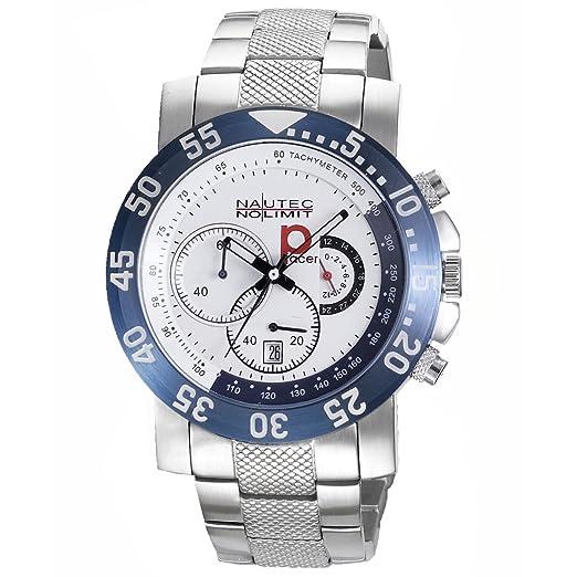 Nautec No Limit P-Racer - Reloj de cuarzo para hombre, con correa de acero inoxidable, color plateado: Amazon.es: Relojes